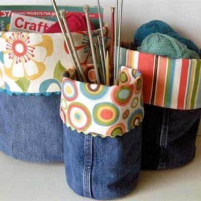 orgaizador de artesanato em jeans