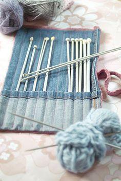 organizador de agulhas de trigo de jeans