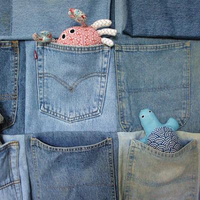 organizador de brinquedos de jeans