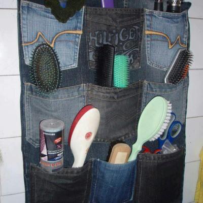 organizador de escovas de cabelos em jeans