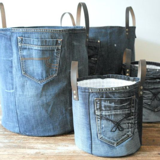 organizador de porta trecos de jeans
